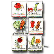 Vintage Anthropomorphic Veggies Embroidery Pattern