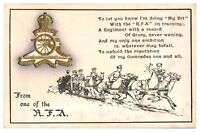 Antique WW1 military postcard From One Of The RFA Royal Field Artillery