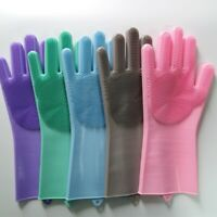 Magic Dishwashing Silicone Gloves with Cleaning Brush Scrubber Silicone Gloves