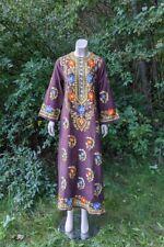 60's Vtg Embroidered Cotton Caftan Maxi Dress Hippie Boho Cocoa M NOS 70s Floral