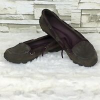 Merrell Women's Marina Brown Maroon Leather Suede Flat Boat Shoes Vibram Sole 6