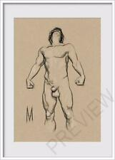 ORIGINAL NUDE MALE POSE PORTRAIT FIGURE 5x7 MIXED MEDIA DRAWING