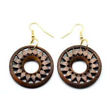 One Pair Brown Wooden Round Donut Earrings 3.5cm Ethnic African Style Jewellery