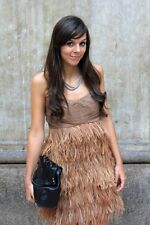 Zara Brown Strapless Feather Party Dress Size M Bloggers Fave