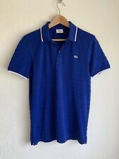 Lacoste Slimfit Size 3 Men's Cotton Polo Shirt Blue