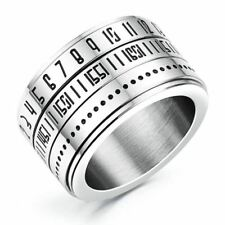 Fashion Men Time Rotating Ring Titanium Steel Arabic Numerals Calendar Ring L3E6