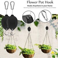 Retractable Pulley Hanging Basket Pull Down Garden Plant Hanger Hook Easy Reach-