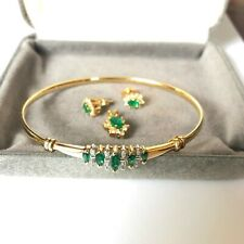 Pre-Owned Authentic Yellow Gold Emerald & Diamond Bracelet Earrings Pendant Set