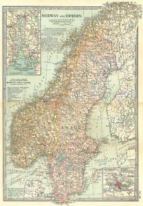 SCANDINAVIA. Norway, Sweden; Inset Oslo, Stockholm; Kristianiafjord 1903 map