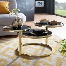 FineBuy Couchtisch SINA Metall Glas Beistelltisch Wohnzimmertisch Sofatisch 58cm