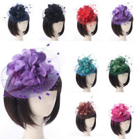 Vintage Women Lace Feather Mini Top Hat Fascinator Fancy Party Flower Hair Clip