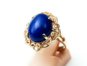 14KT 585 Gold Ring with 12x14mm Lapis Lazuli Stone