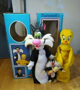 Lot 2 Marionnettes Titi et grosminet Vintage 1974 Made in France+ Peluche 1994