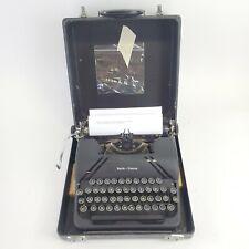 VTG RARE Smith Corona Sterling Typewriter Black W/Case Floating Shift WITH KEY