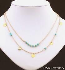 Double Layer Boho Bohemian Necklace Gold Turquoise Beach Casual