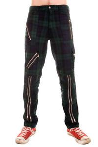 Tiger of London Mens Punk Rock Zip Bondage Green Tartan Pants.