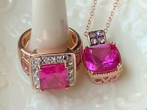 Pink Lab Sapphire White Topaz Ring Necklace 18k over Sterling Silver set Sz. 5