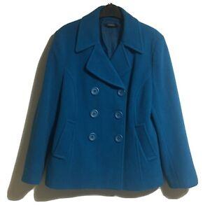 CHADWICKS UK 14 Blue Peacoat Tailored Overcoat Jacket Coat Cropped Classy Chic