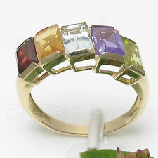 14k Solid Yellow Gold Genuine Baguette Gemstone Rainbow Cocktail Ring TPJ