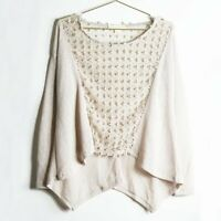 Urban Outfitters Staring at Stars Looped Lace Long Sleeve Top in Tan Size L