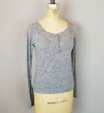 Abercrombie & Fitch Heather Gray L/S Tee Shirt with Sparkly Buttons Womens XS