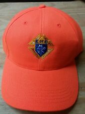 Safety Orange Baseball Cap with Knights of Columbus Logo on Front Panel