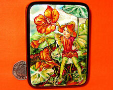 Russian Small Hand Painted Lacquer Shell Box Nasturtium Flower Fairy Silantyeva
