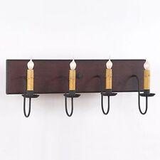 4-arm Wooden Vanity Light in Hartford Red w/ Black Stripe | Mirror / Bar Light
