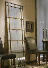 "HUGE 79"" NARROW GOLD LEAF METAL RECTANGULAR RUSTIC WALL OR FLOOR MIRROR RUSTIC"