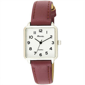 Ravel Ladies Classic Square Dial Burgundy Strap Watch R0139.10  New