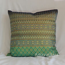 1 GREEN & GOLD COTTON BATIK THROW PILLOW COVER SQUARE 45x45cm OR 18x18in
