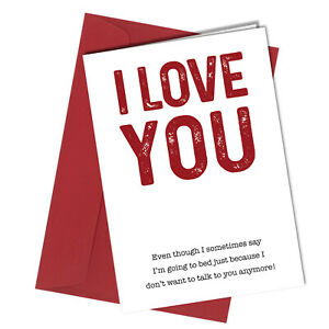 Birthday / Valentine Rude greetings card funny humour joke I Love you #1391