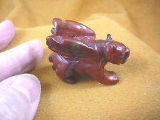 (Y-Pant-Ga-Wa-554) Red jasper Panther Gargoyle winged Gemstone mythical carving