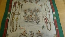 Vintage 70s GUCCI green red silk equestrian scarf soie horses buckles polo