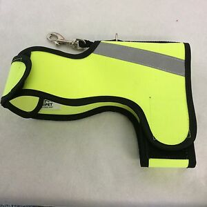 DOG HARNESS in HI-VIS YELLOW with 3M REFLECTIVE SAFETY STRIPS - MADE IN THE UK