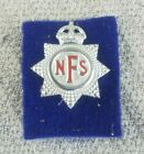 VINTAGE MID CENTURY NFS NATIONAL FIRE SERVICE CAP BADGE WITH KING'S CROWN