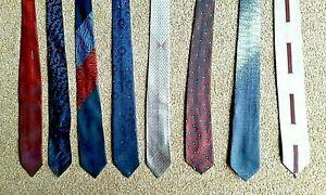 Vintage slim tie bundle-60's/70's-8 ties-VGC