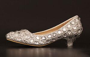 Bling high heel crystal wedding shoes rhinestone low heel flat bridal prom shoes