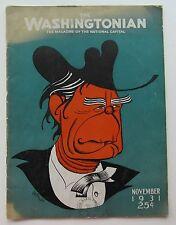 Rare The Washingtonian Magazine Caricature Cover by Aurelius  Battaglia Nov 1931