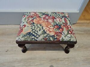 tapestry Vintage Footstool embroidered needlepoint retro fruit flowers pretty
