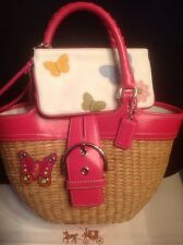 Coach Pink Leather XL Straw Butterfly Bag 6270  +RARE Wristlet Wallet EUC SET
