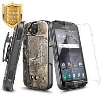 Kyocera DuraForce Pro E6820 Belt Clip Holster Case Kickstand  + Tempered Glass