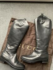 GUCCI Black Leather Betis Glamour Knee High Boots UK 4.5 Genuine