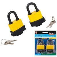 Bluespot 2pc Waterproof 40mm Steel Shackle Outdoor Security Padlock & Keys Alike