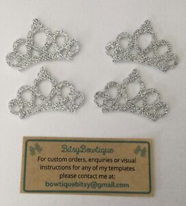 4 x Glitter Crown Felt Embellishments Scrapbooking Cardmaking Bows Crafts