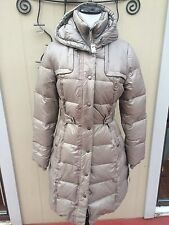 NEW $354 Women's Beige DNKY Long DOWN Belted Winter Coat with a Hood- size XL