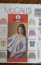 MCCALLS MISSES CARDIGAN TOP SEWING PATTERN 2128 Size 8 10 From 1999