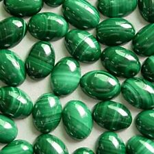 A PAIR OF 10x8mm OVAL CABOCHON-CUT NATURAL AFRICAN MALACHITE GEMSTONES