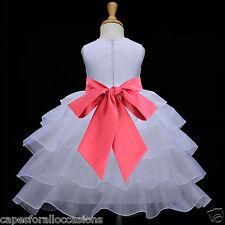 WHITE WEDDING PAGEANT FLOWER GIRL DRESS ORGANZA MEDIUM 2 2T 3 3T 4 4T 5 6 7 8 10
