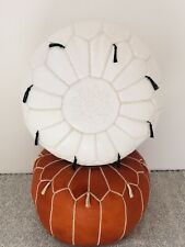 2 Handmade Moroccan Pouf Brown And White Leather Pouf Ottoman Pouff footstool